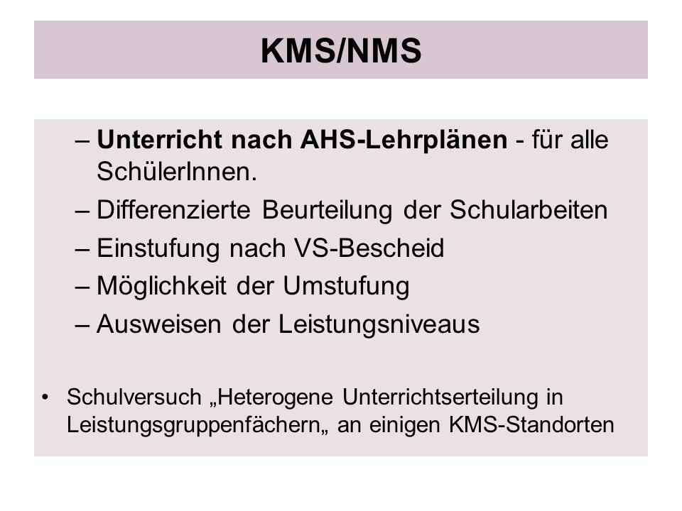 KMS/NMS –Unterricht nach AHS-Lehrplänen - für alle SchülerInnen. –Differenzierte Beurteilung der Schularbeiten –Einstufung nach VS-Bescheid –Möglichke