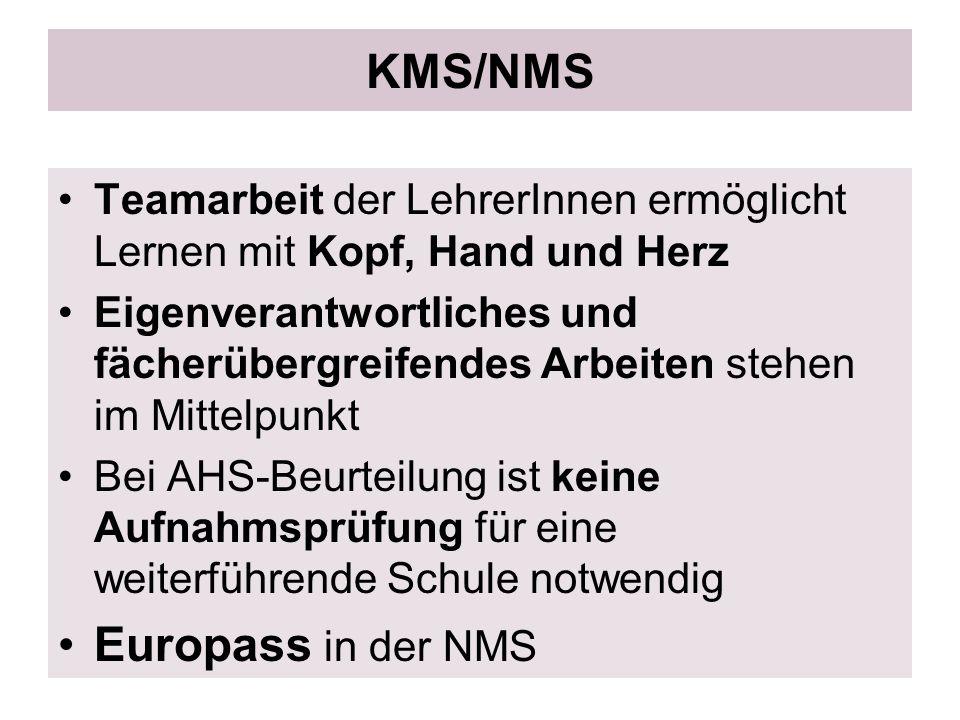KMS/NMS Teamarbeit der LehrerInnen ermöglicht Lernen mit Kopf, Hand und Herz Eigenverantwortliches und fächerübergreifendes Arbeiten stehen im Mittelp