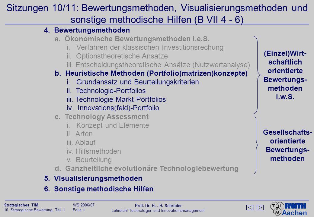 Aachen 10 Strategische Bewertung, Teil 1 Folie 0 Strategisches TIM WS 2006/07 Prof. Dr. H. - H. Schröder Lehrstuhl Technologie- und Innovationsmanagem