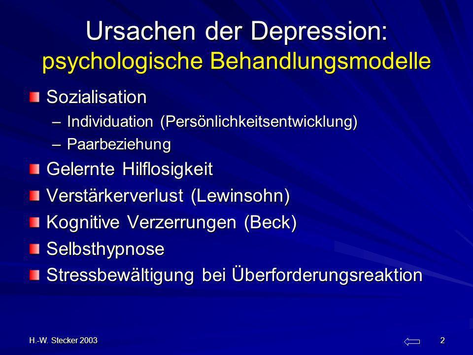H.-W. Stecker 2003 2 Ursachen der Depression: psychologische Behandlungsmodelle Sozialisation –Individuation (Persönlichkeitsentwicklung) –Paarbeziehu