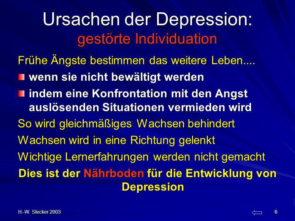 H.-W. Stecker 2003 6 Ursachen der Depression: gestörte Individuation Frühe Ängste bestimmen das weitere Leben.... wenn sie nicht bewältigt werden inde