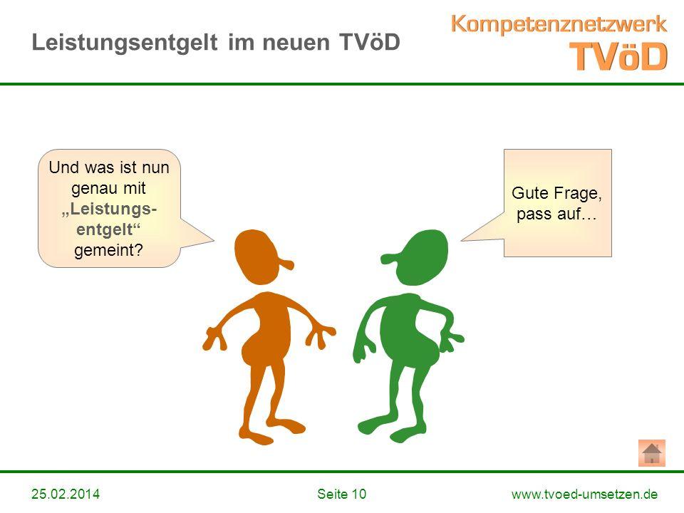 www.tvoed-umsetzen.deSeite 1025.02.2014 Gute Frage, pass auf… Und was ist nun genau mit Leistungs- entgelt gemeint? Leistungsentgelt im neuen TVöD