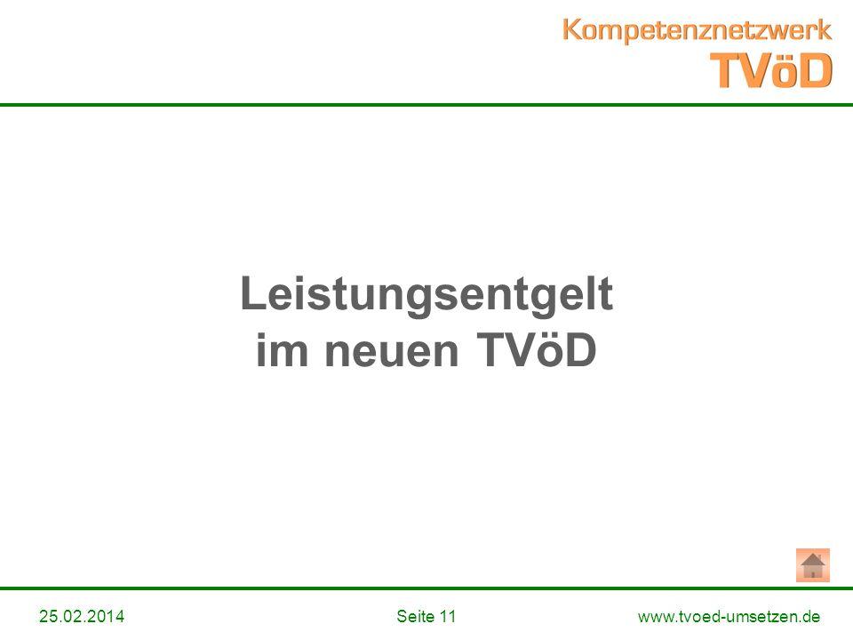 www.tvoed-umsetzen.deSeite 1125.02.2014 Leistungsentgelt im neuen TVöD