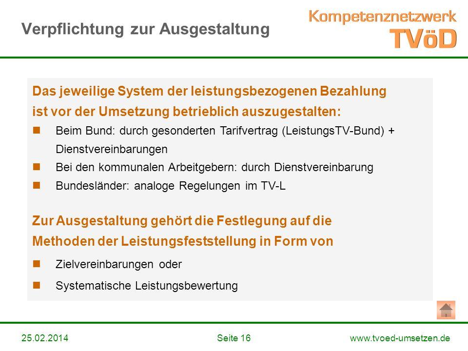 www.tvoed-umsetzen.deSeite 1625.02.2014 Das jeweilige System der leistungsbezogenen Bezahlung ist vor der Umsetzung betrieblich auszugestalten: Beim B