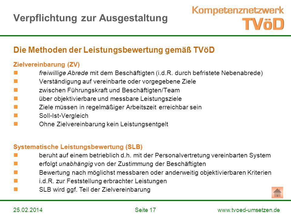 www.tvoed-umsetzen.deSeite 1725.02.2014 Zielvereinbarung (ZV) freiwillige Abrede mit dem Beschäftigten (i.d.R. durch befristete Nebenabrede) Verständi