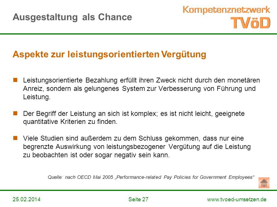 www.tvoed-umsetzen.deSeite 2725.02.2014 Leistungsorientierte Bezahlung erfüllt ihren Zweck nicht durch den monetären Anreiz, sondern als gelungenes Sy
