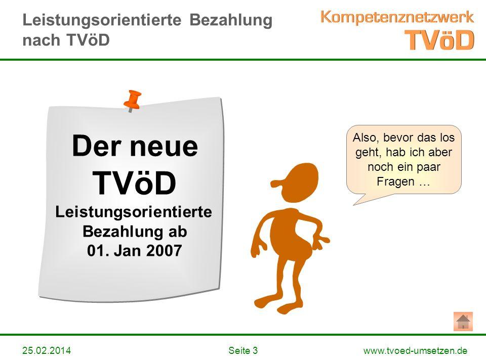www.tvoed-umsetzen.deSeite 325.02.2014 Also, bevor das los geht, hab ich aber noch ein paar Fragen … Der neue TVöD Leistungsorientierte Bezahlung ab 0