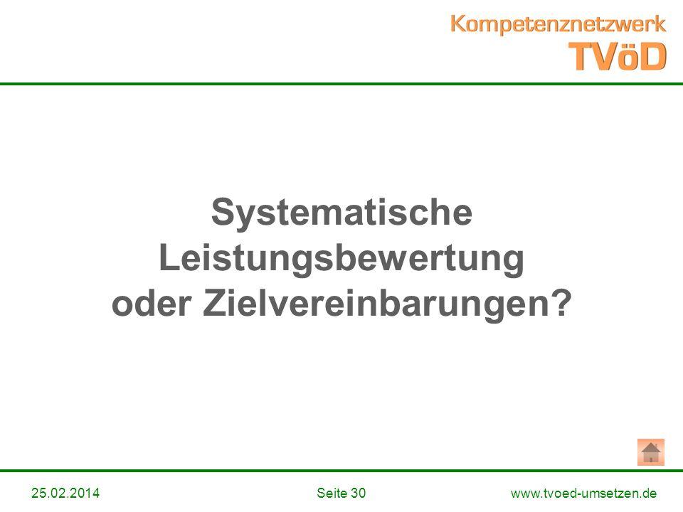 www.tvoed-umsetzen.deSeite 3025.02.2014 Systematische Leistungsbewertung oder Zielvereinbarungen?