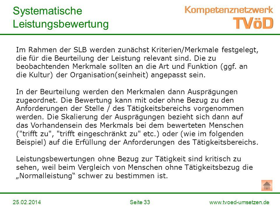 www.tvoed-umsetzen.de Systematische Leistungsbewertung Seite 3325.02.2014 Im Rahmen der SLB werden zunächst Kriterien/Merkmale festgelegt, die für die
