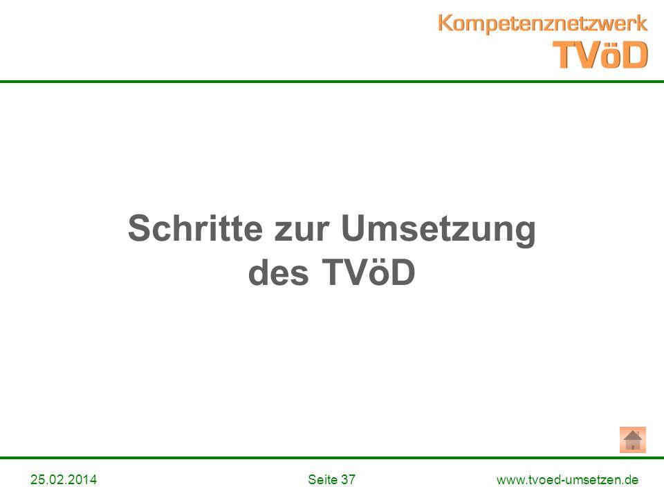 www.tvoed-umsetzen.deSeite 3725.02.2014 Schritte zur Umsetzung des TVöD