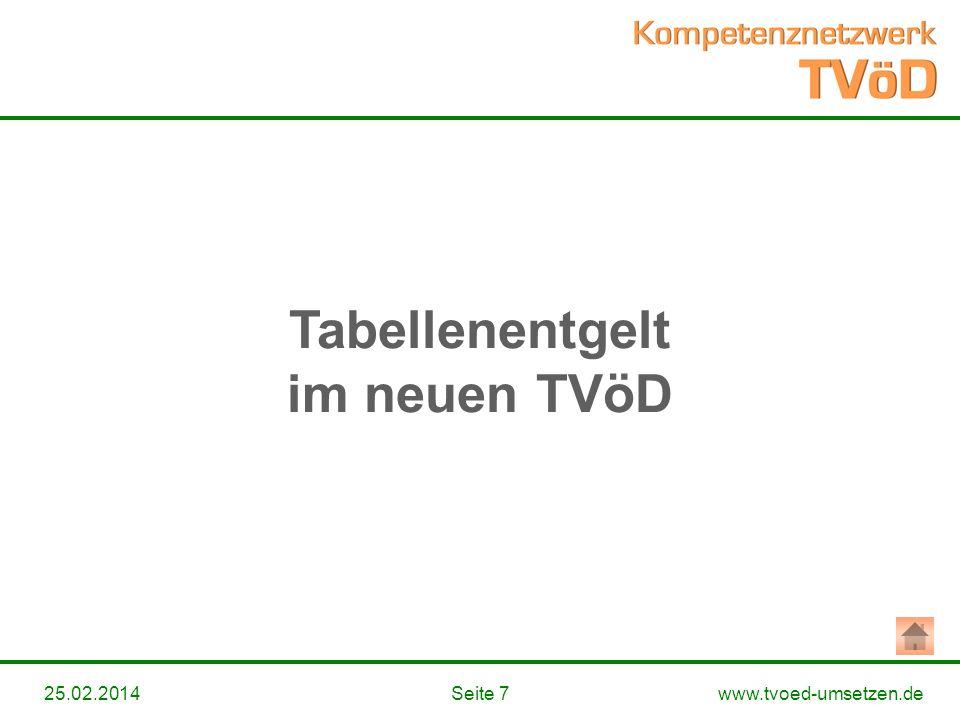 www.tvoed-umsetzen.deSeite 725.02.2014 Tabellenentgelt im neuen TVöD