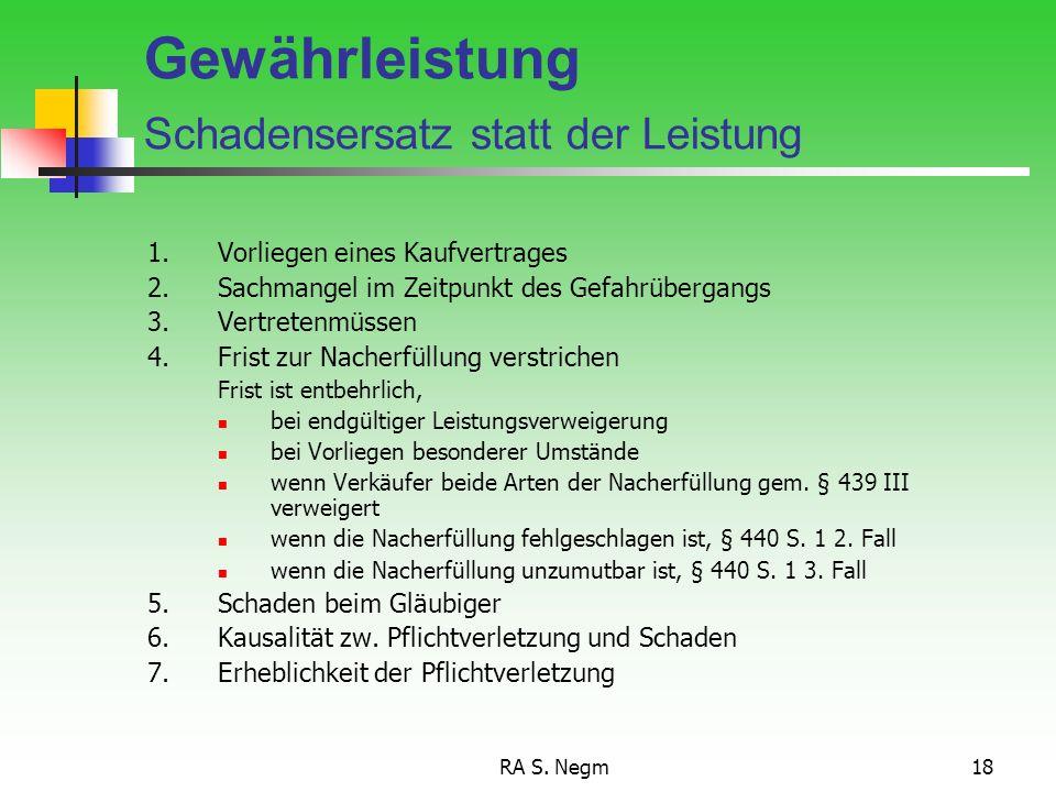 RA S. Negm17 Minderung 1.Wirksamer Kaufvertrag 2.Sach- oder Rechtsmangel (auch unerheblicher) 3.a) Ernsthafte Fristsetzung und Fristablauf oder Entbeh