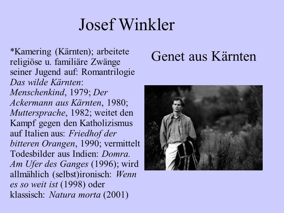 *Kamering (Kärnten); arbeitete religiöse u. familiäre Zwänge seiner Jugend auf: Romantrilogie Das wilde Kärnten: Menschenkind, 1979; Der Ackermann aus