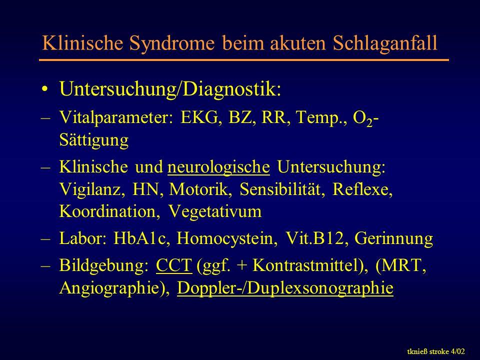 tknieß stroke 4/02 Klinische Syndrome beim akuten Schlaganfall Untersuchung/Diagnostik: –Vitalparameter: EKG, BZ, RR, Temp., O 2 - Sättigung –Klinisch