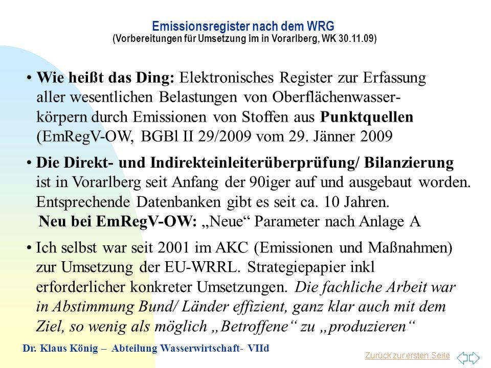Zurück zur ersten Seite Wie heißt das Ding: Elektronisches Register zur Erfassung aller wesentlichen Belastungen von Oberflächenwasser- körpern durch