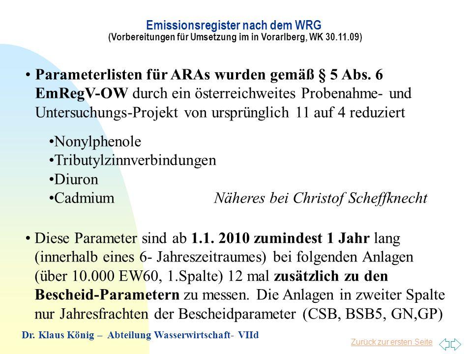 Zurück zur ersten Seite Parameterlisten für ARAs wurden gemäß § 5 Abs. 6 EmRegV-OW durch ein österreichweites Probenahme- und Untersuchungs-Projekt vo