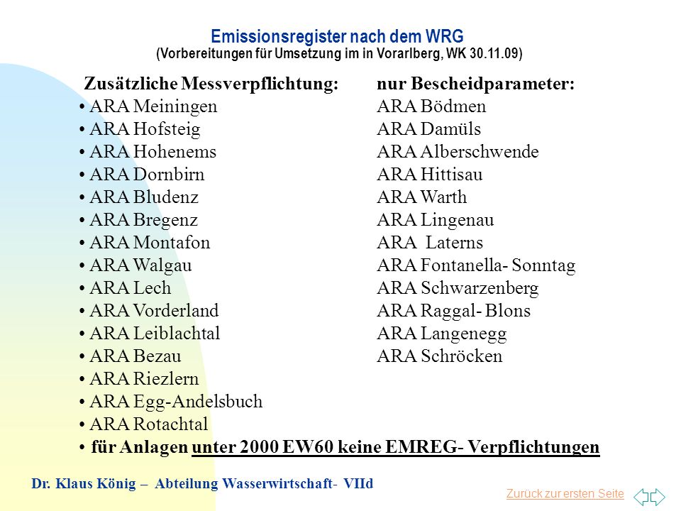 Zurück zur ersten Seite Zusätzliche Messverpflichtung:nur Bescheidparameter: ARA Meiningen ARA Bödmen ARA Hofsteig ARA Damüls ARA Hohenems ARA Albersc