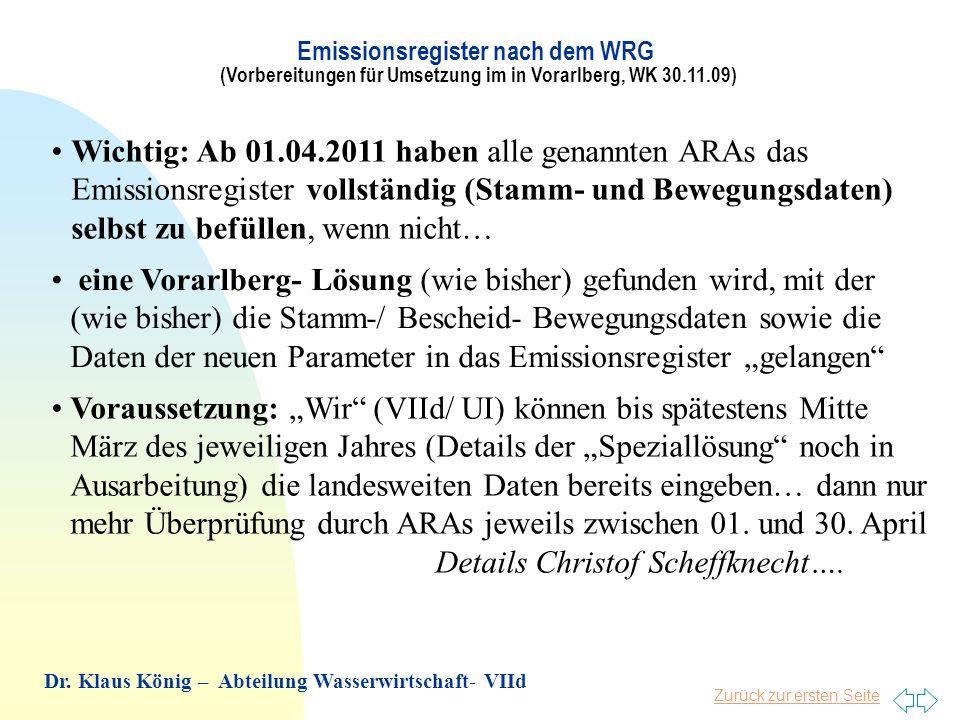 Zurück zur ersten Seite Betroffene Firmen in Vorarlberg (DE- Direkteinleiter/ IE- Indirekteinleiter): Textilveredlung: Getzner(IE), Kunert(IE), Schöller (IE) Metallveredlung: Beiser (IE), Collini (DE), Rexam (IE), Längle (IE) Abfallbehandlung: Böhler Fk (IE), Loacker Frastanz (IE) Deponien: Böschistobel(IE), Häusle(IE), Mittelberg(IE) Hilti&Jehle(DE), Schesa(DE), Schloßtobel(DE), Lebensmittelbereich: Pfanner (IE), Rauch- Rankweil (IE), Rauch- Nüziders (DE – aber nur Stammdaten) Papier: Rondo (IE) Noch in Diskussion: Straßenentwässerungen Emissionsregister nach dem WRG (Vorbereitungen für Umsetzung im in Vorarlberg, WK 30.11.09) Dr.