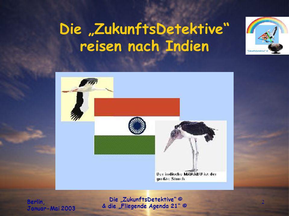 Berlin, Januar-Mai 2003 Die ZukunftsDetektive © & die Fliegende Agenda 21 © 2 Die ZukunftsDetektive reisen nach Indien