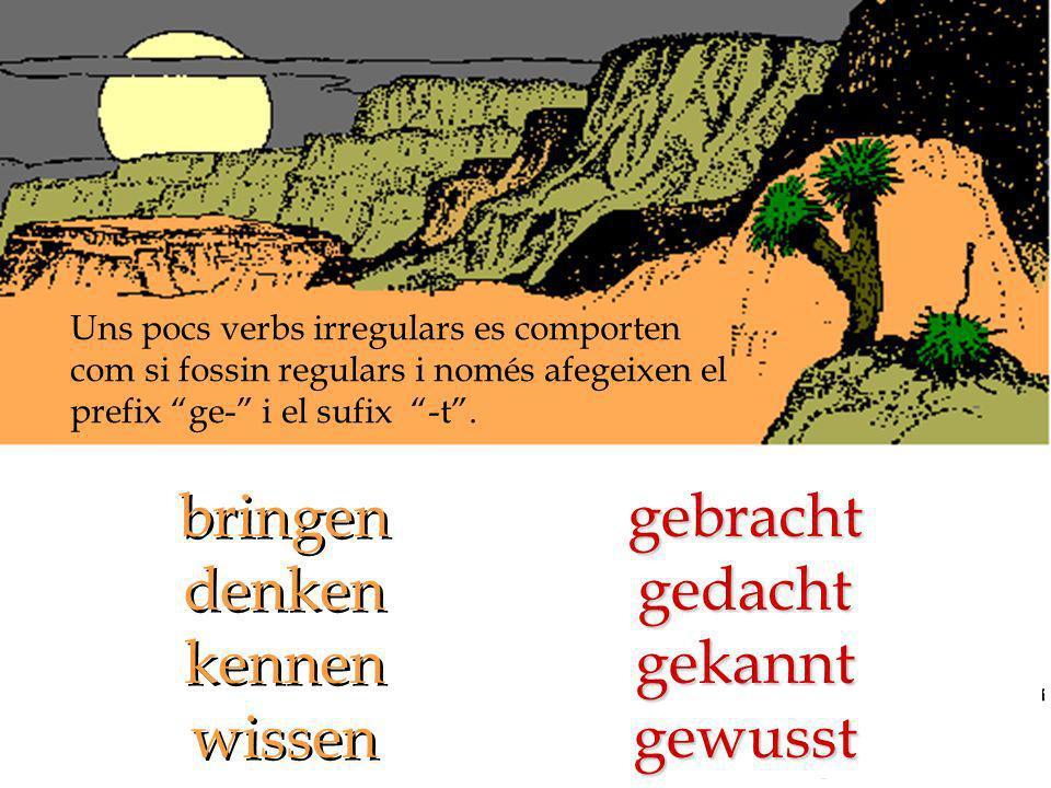A vegades el canvi de la vocal temàtica afecta també al participi. helfengeholfen sprechen gesprochen sprechen gesprochen singengesungen nehmen genomm