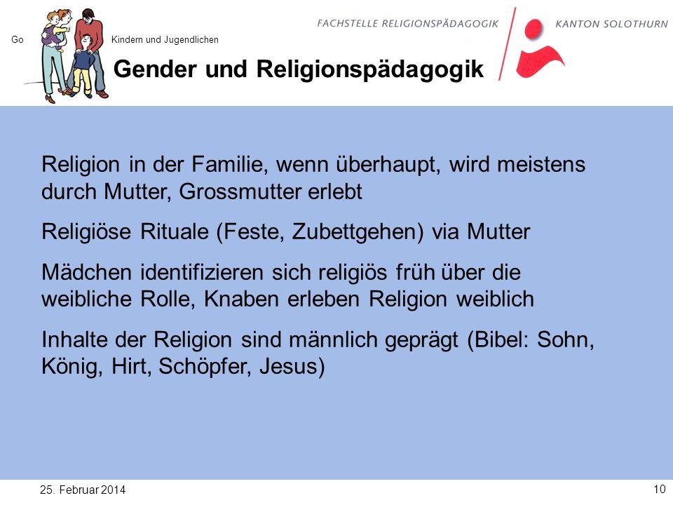 Gender und Religionspädagogik 25. Februar 201410 Gottesvorstellungen bei Kindern und Jugendlichen Religion in der Familie, wenn überhaupt, wird meiste
