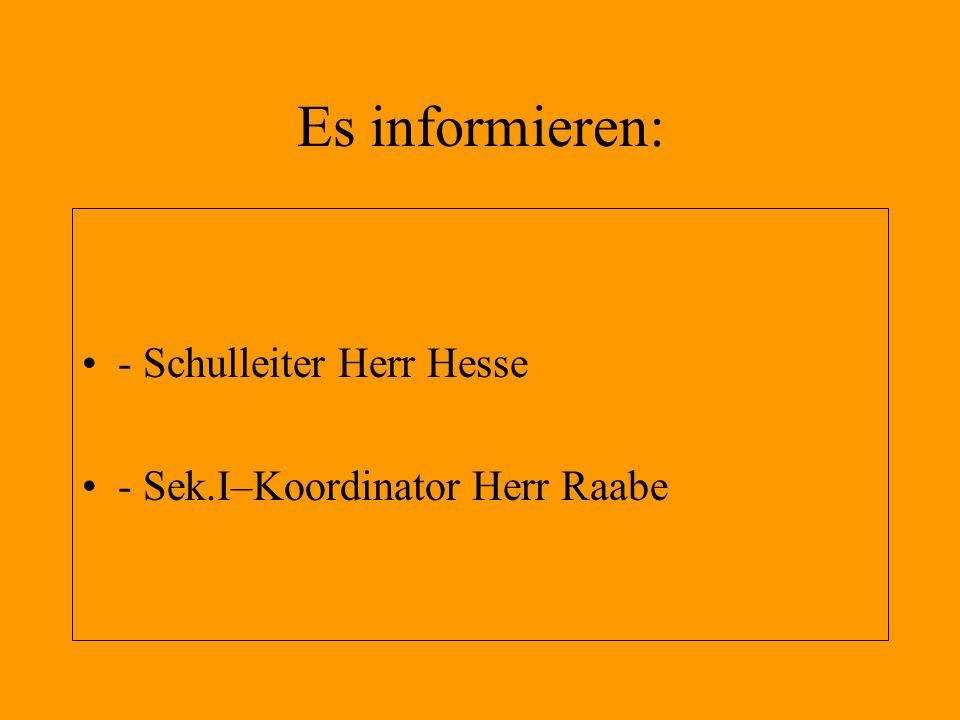 Es informieren: - Schulleiter Herr Hesse - Sek.I–Koordinator Herr Raabe