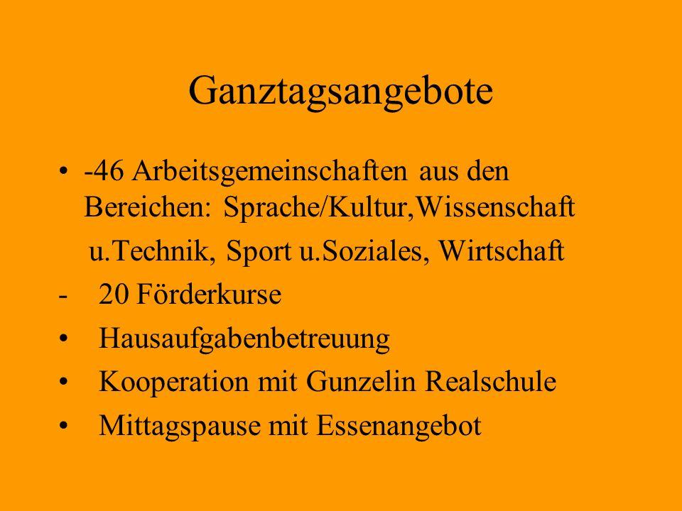 Ganztagsangebote -46 Arbeitsgemeinschaften aus den Bereichen: Sprache/Kultur,Wissenschaft u.Technik, Sport u.Soziales, Wirtschaft - 20 Förderkurse Hau