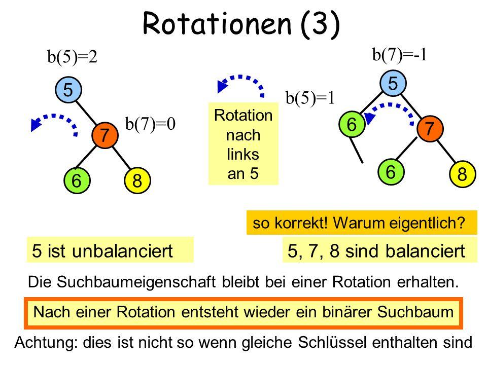 Petra Mutzel: DAP2, Universität Dortmund SS2006 3 Rotationen (3) 8 7 5 b(5)=2 6 b(7)=-1 b(7)=0 5 ist unbalanciert5, 7, 8 sind balanciert b(5)=1 Rotation nach links an 5 8 7 5 6 falsch: die 6 muss mitwandern 6 Nach einer Rotation entsteht wieder ein binärer Suchbaum Achtung: dies ist nicht so wenn gleiche Schlüssel enthalten sind so korrekt.