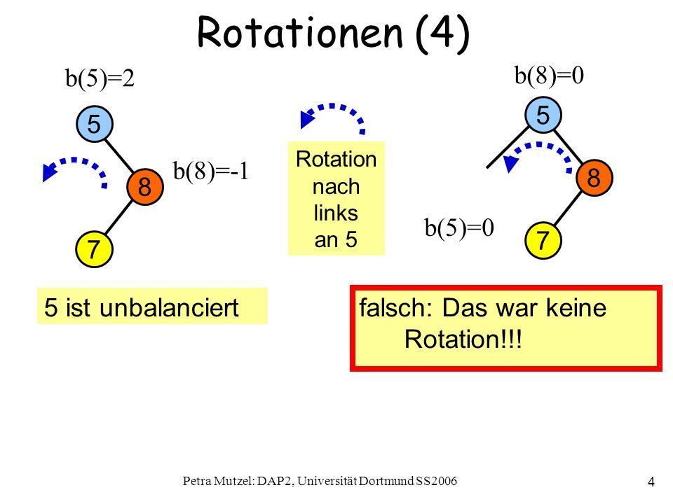 Petra Mutzel: DAP2, Universität Dortmund SS2006 4 Rotationen (4) 8 5 b(5)=2 b(8)=0 b(8)=-1 5 ist unbalanciert falsch: Das war keine Rotation!!.