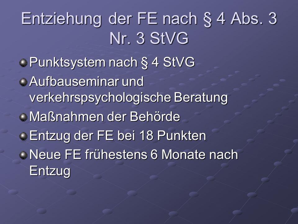 Entziehung der FE nach § 4 Abs. 3 Nr. 3 StVG Punktsystem nach § 4 StVG Aufbauseminar und verkehrspsychologische Beratung Maßnahmen der Behörde Entzug