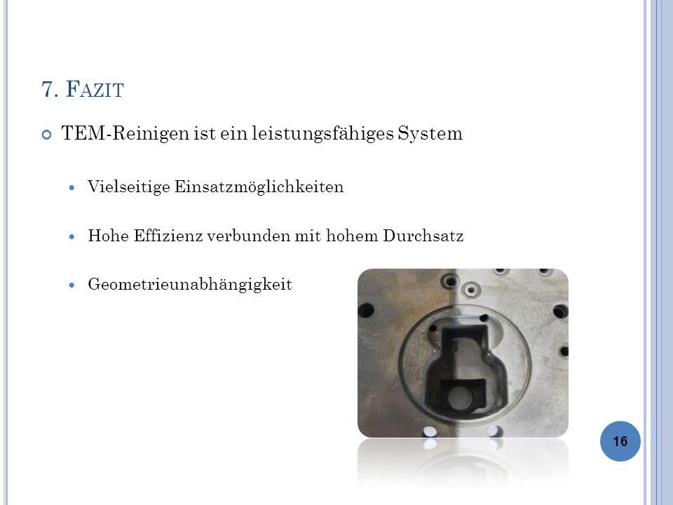 7. F AZIT TEM-Reinigen ist ein leistungsfähiges System Vielseitige Einsatzmöglichkeiten Hohe Effizienz verbunden mit hohem Durchsatz Geometrieunabhäng