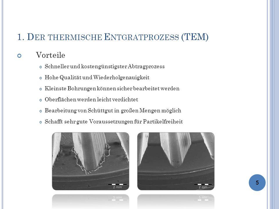 1. D ER THERMISCHE E NTGRATPROZESS (TEM) Vorteile Schneller und kostengünstigster Abtragprozess Hohe Qualität und Wiederholgenauigkeit Kleinste Bohrun