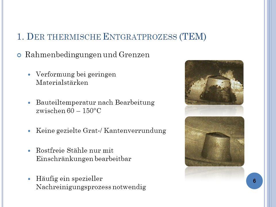 1. D ER THERMISCHE E NTGRATPROZESS (TEM) Rahmenbedingungen und Grenzen Verformung bei geringen Materialstärken Bauteiltemperatur nach Bearbeitung zwis