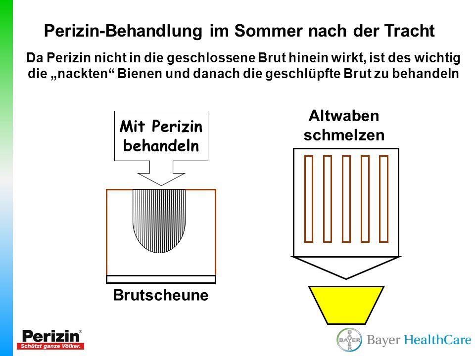Perizin-Behandlung im Sommer nach der Tracht Da Perizin nicht in die geschlossene Brut hinein wirkt, ist des wichtig die nackten Bienen und danach die