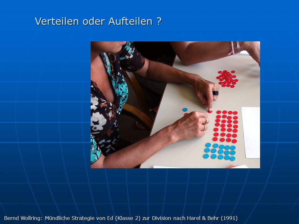 Verteilen oder Aufteilen ? Bernd Wollring: Mündliche Strategie von Ed (Klasse 2) zur Division nach Harel & Behr (1991)