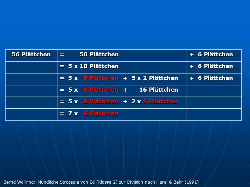 56 Plättchen = 50 Plättchen + 6 Plättchen = 5 x 10 Plättchen + 6 Plättchen = 5 x 8 Plättchen + 5 x 2 Plättchen + 6 Plättchen = 5 x 8 Plättchen + 16 Pl