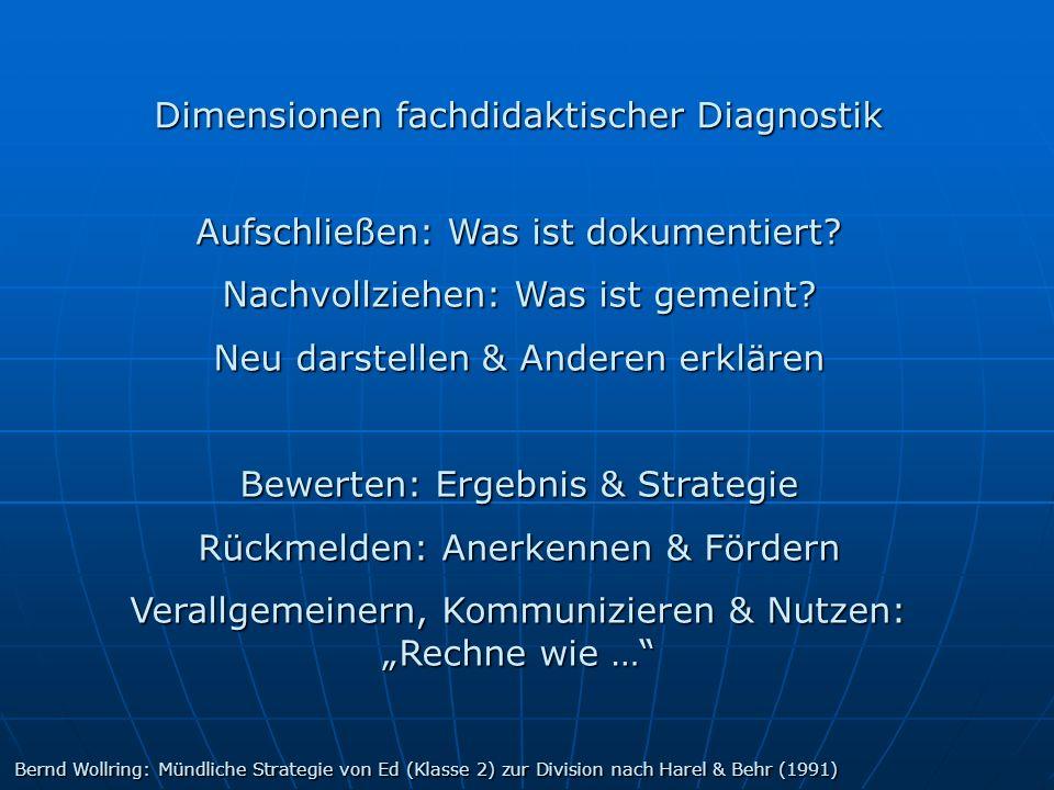 Dimensionen fachdidaktischer Diagnostik Aufschließen: Was ist dokumentiert? Nachvollziehen: Was ist gemeint? Neu darstellen & Anderen erklären Bewerte