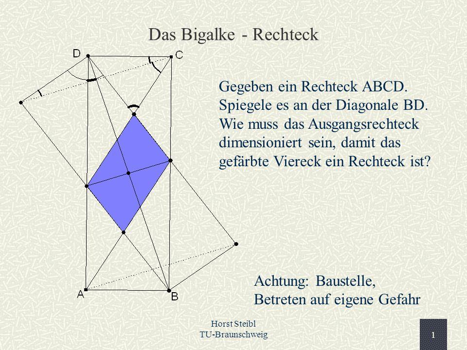 Horst Steibl TU-Braunschweig1 Das Bigalke - Rechteck Gegeben ein Rechteck ABCD. Spiegele es an der Diagonale BD. Wie muss das Ausgangsrechteck dimensi