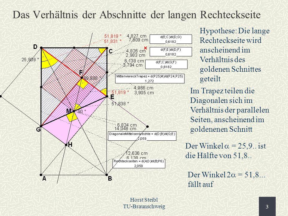 Horst Steibl TU-Braunschweig3 Das Verhältnis der Abschnitte der langen Rechteckseite Im Trapez teilen die Diagonalen sich im Verhältnis der parallelen