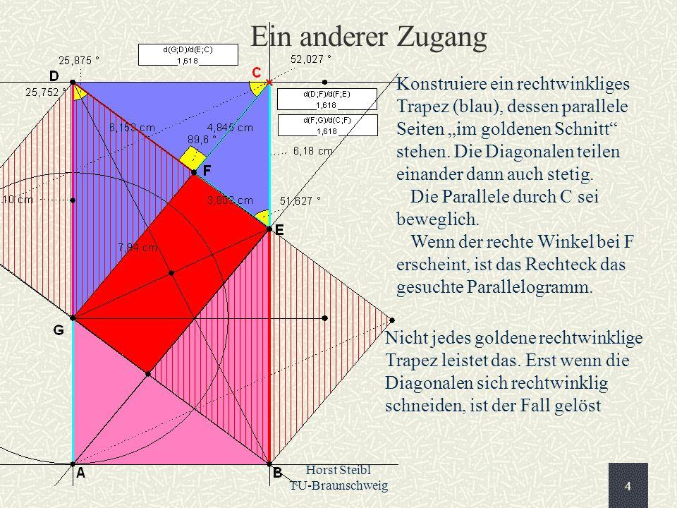 Horst Steibl TU-Braunschweig4 Ein anderer Zugang Konstruiere ein rechtwinkliges Trapez (blau), dessen parallele Seiten im goldenen Schnitt stehen. Die