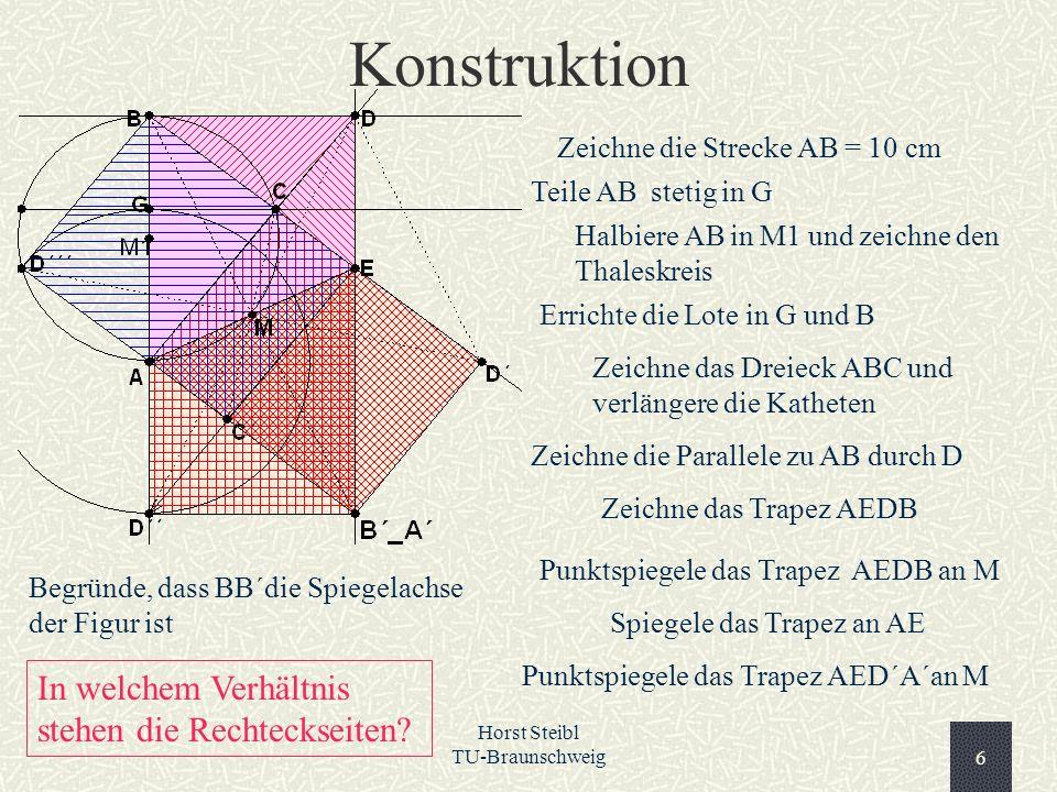 Horst Steibl TU-Braunschweig6 Konstruktion Zeichne die Strecke AB = 10 cm Teile AB stetig in G Halbiere AB in M1 und zeichne den Thaleskreis Errichte
