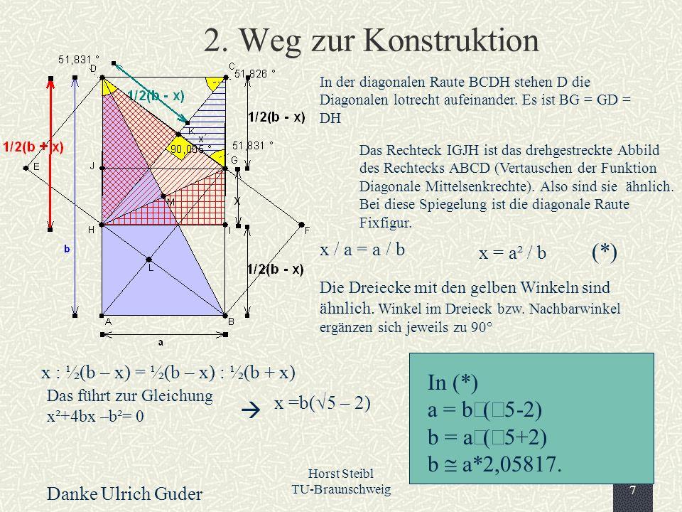 Horst Steibl TU-Braunschweig7 2. Weg zur Konstruktion Das Rechteck IGJH ist das drehgestreckte Abbild des Rechtecks ABCD (Vertauschen der Funktion Dia
