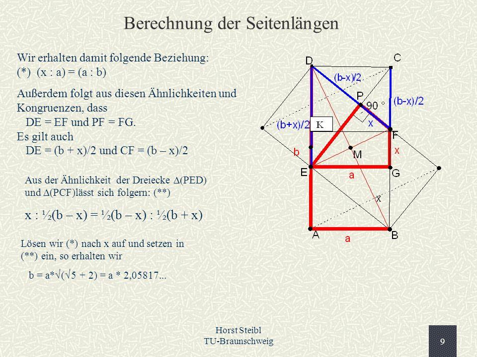 Horst Steibl TU-Braunschweig9 Wir erhalten damit folgende Beziehung: (*) (x : a) = (a : b) Außerdem folgt aus diesen Ähnlichkeiten und Kongruenzen, da