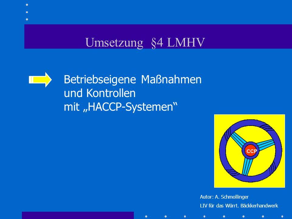 Betriebseigene Maßnahmen und Kontrollen mit HACCP-Systemen CCP Umsetzung §4 LMHV Autor: A. Schmollinger LIV für das Würrt. Bäckkerhandwerk