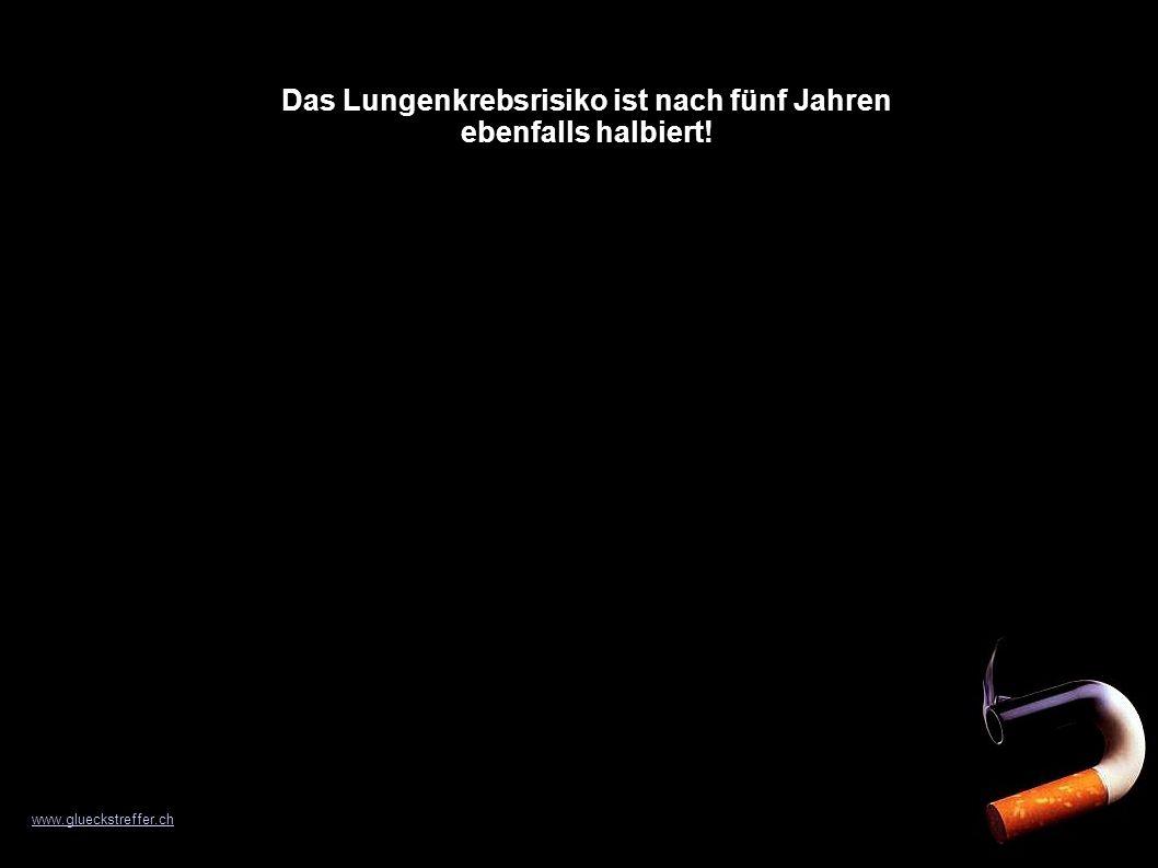 Das Lungenkrebsrisiko ist nach fünf Jahren ebenfalls halbiert! www.glueckstreffer.ch