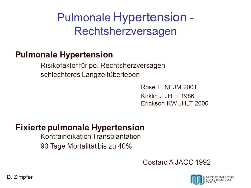 D. Zimpfer Pulmonale Hypertension Risikofaktor für po. Rechtsherzversagen schlechteres Langzeitüberleben Rose E NEJM 2001 Kirklin J JHLT 1986 Erickson