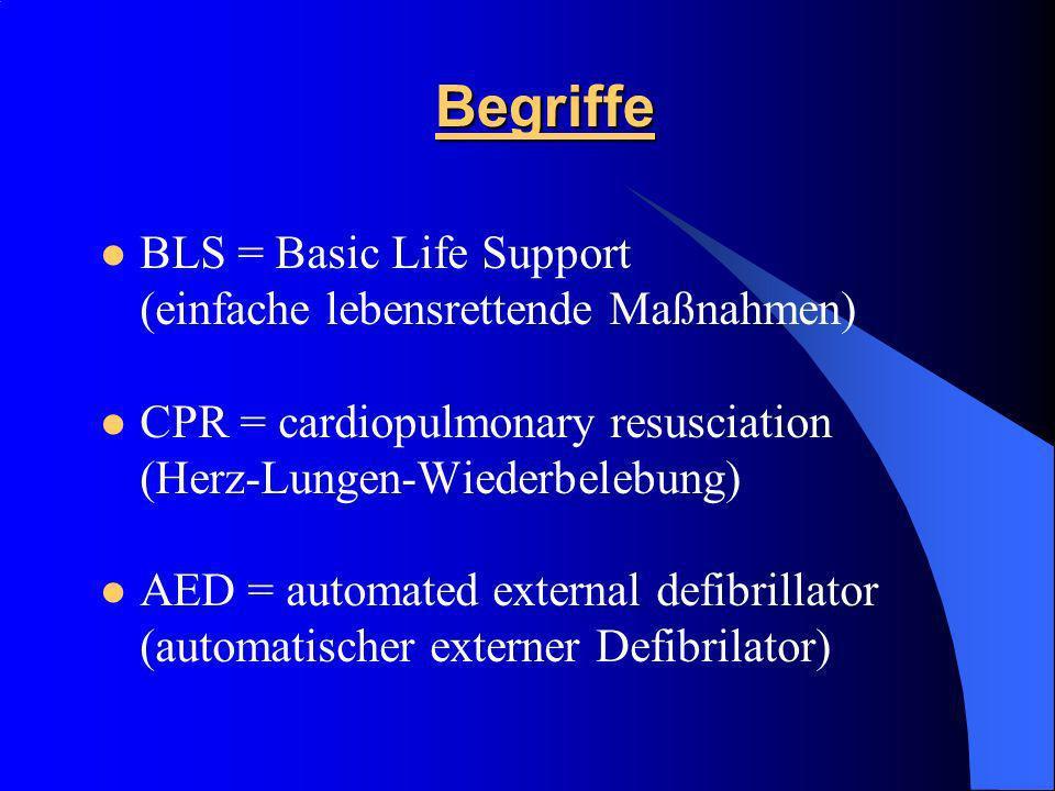 Begriffe BLS = Basic Life Support (einfache lebensrettende Maßnahmen) CPR = cardiopulmonary resusciation (Herz-Lungen-Wiederbelebung) AED = automated