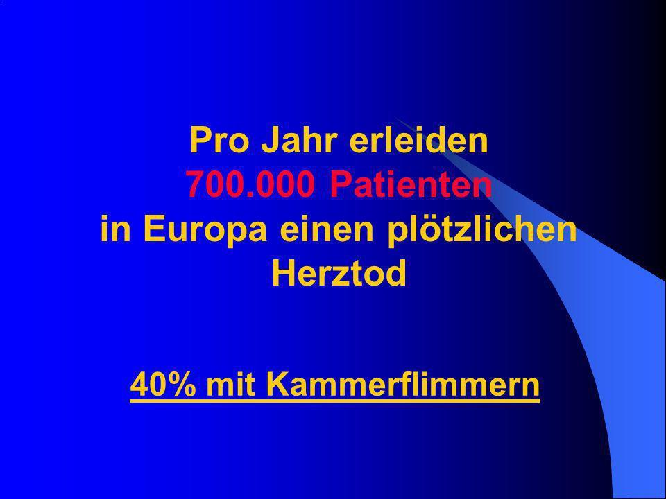 Pro Jahr erleiden 700.000 Patienten in Europa einen plötzlichen Herztod 40% mit Kammerflimmern