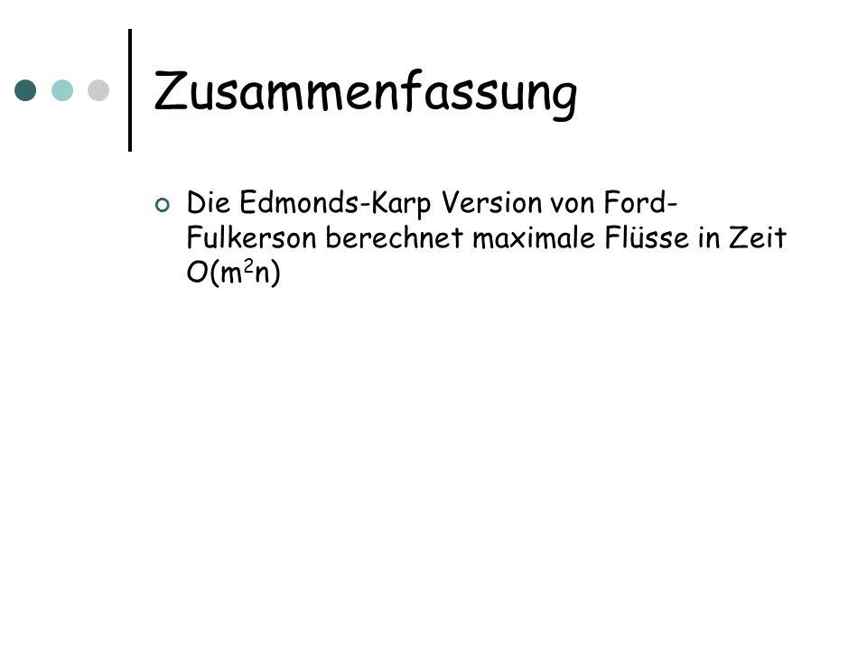 Zusammenfassung Die Edmonds-Karp Version von Ford- Fulkerson berechnet maximale Flüsse in Zeit O(m 2 n)