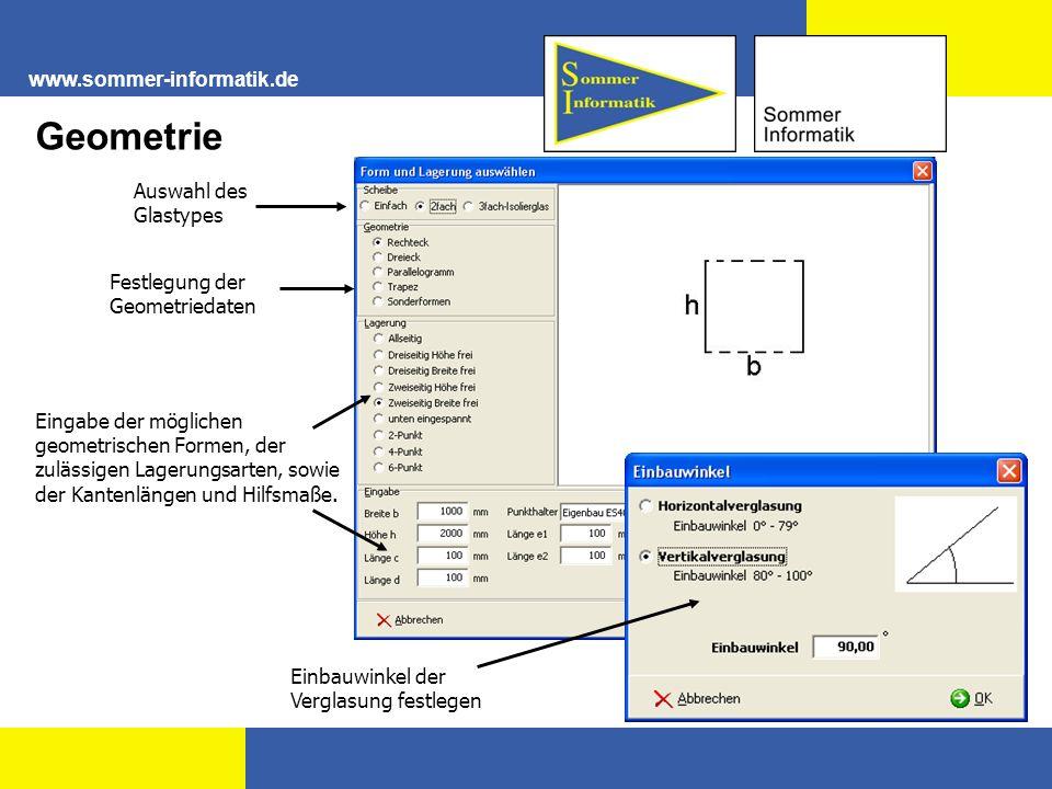 Auswahl des Glastypes Festlegung der Geometriedaten Eingabe der möglichen geometrischen Formen, der zulässigen Lagerungsarten, sowie der Kantenlängen